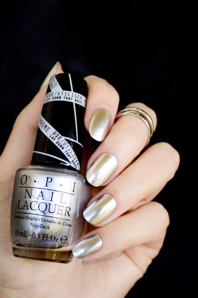 OPI Push & Shove - silver chrome effect. Click for review.