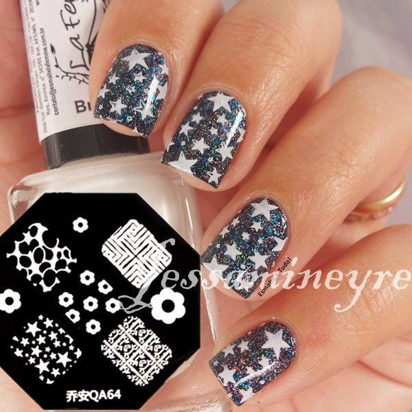 Details about NICOLE DIARY Nail Art Stamping Plates Image Stamp Template Flower Leave Pattern