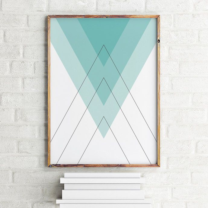 Geometric art print poster Blue Pyramids / Printable Digital Art / Scandinavian art / Nordic Art / Wall Decor / digital print illustration by MBmindbackup on Etsy https://www.etsy.com/listing/242963893/geometric-art-print-poster-blue-pyramids