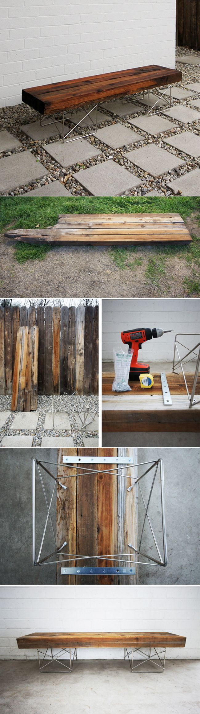 DIY : Midcentury bench made from reclaimed wood
