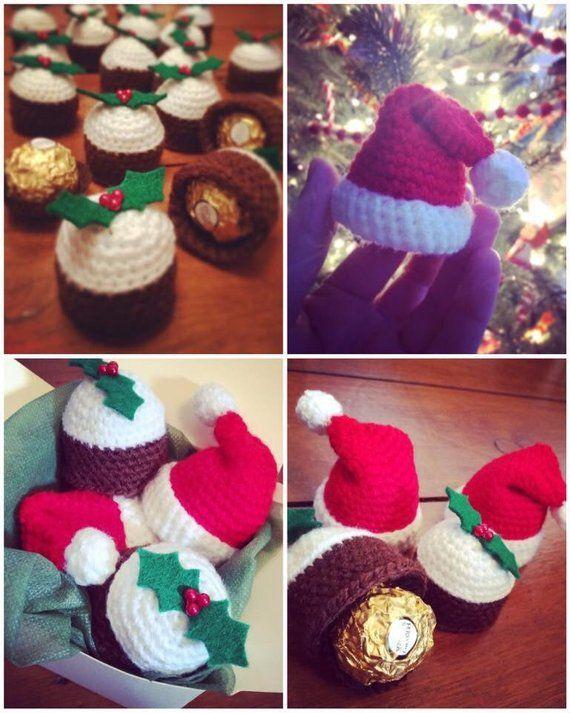Crochet pattern PDF download Christmas Ferrero Rocher covers Santa hat and  Christmas pudding 5319db7ae0d