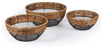 Adeco Trading Wire and Sea Grass Baskets