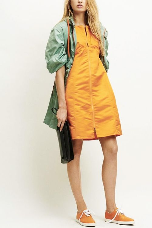 What to Wear This Weekend: Orange Dress, Military Jacket, Orange Sneakers