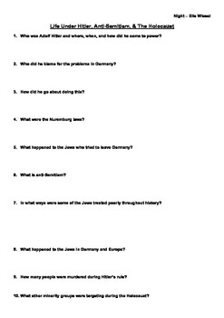 essay questions for the holocaust and night Night by elie wiesel study questions study questions & essay topics 1 in his 1996 memoir all rivers run to the sea, elie wiesel writes, in reference.