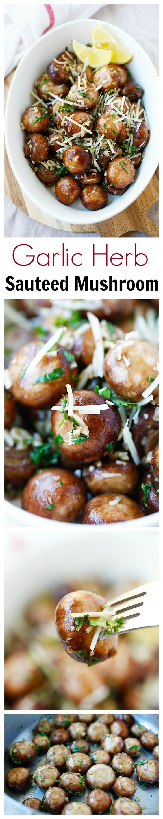 Garlic Herb Sauteed Mushrooms – best & easiest mushroom recipe that takes only 10 mins. Saute mushrooms with olive oil, garlic, parsley, and top with Parmesan cheese | rasamalaysia.com