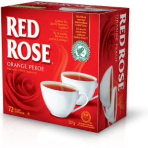 Red Rose Tea is a beverage company established by Theodore Harding Estabrooks in 1894 in Saint John, New Brunswick, Canada. Its orange pekoe tea is said to be made from only the top two leaves of each tea plant sprig, thus ensuring the best quality.