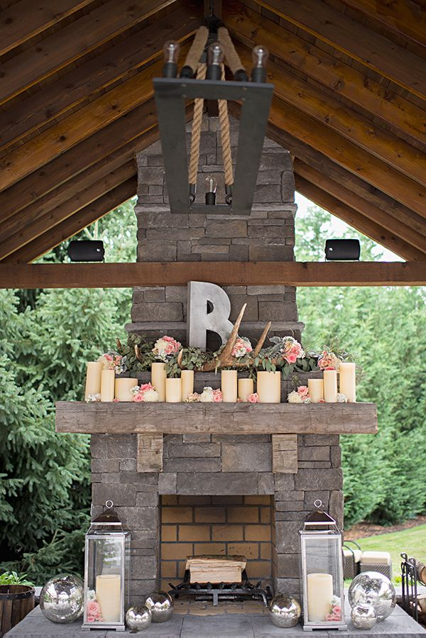 Just love the candles and flowers on the mantel- I also like the monogram letter. @Brittany Lamb - something like this would be amazing around the fire place at your venue! especially the B(; cardboard and spray paint could do this- probably look pretty cool too!