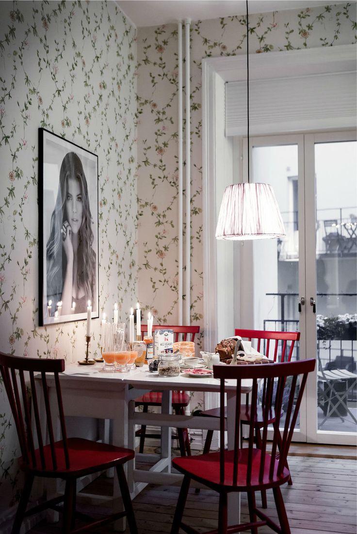 Tienda online telas papel una cocina empapelada con - Papel pintado en la cocina ...