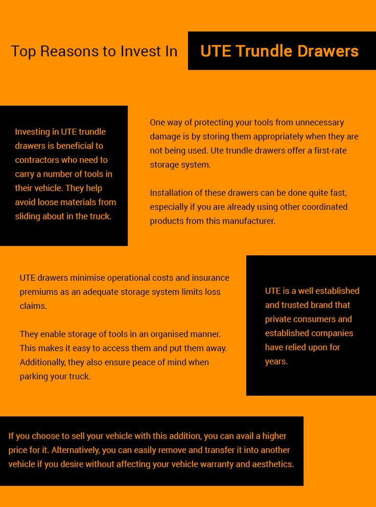 Trundle drawers serve as a practical means of investment for contractors who need to carry numerous tools in their vehicles. They provide a storage system that prevents loose materials from sliding about. The following infographic will highlight the reasons for investing in them.