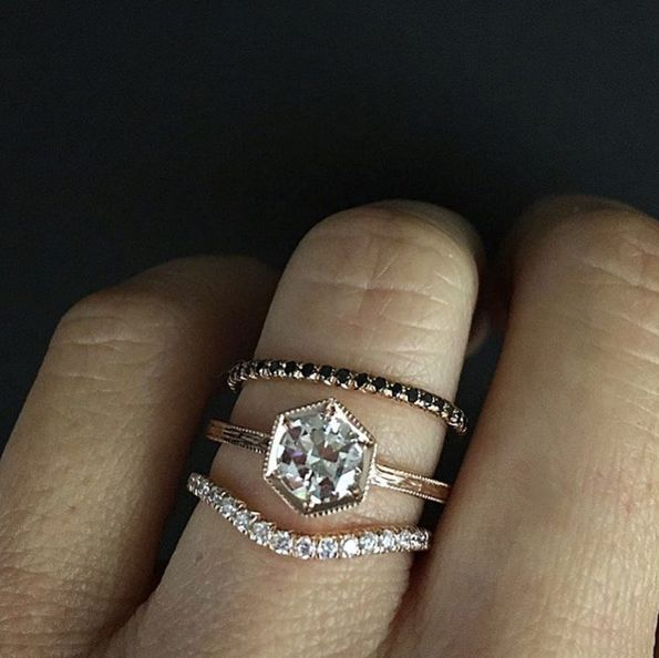 I think I'd prefer the hexagon to have the flat side on top/bottom. \_/  21 Engagement Rings That Are Perfect For The Unconventional Bride