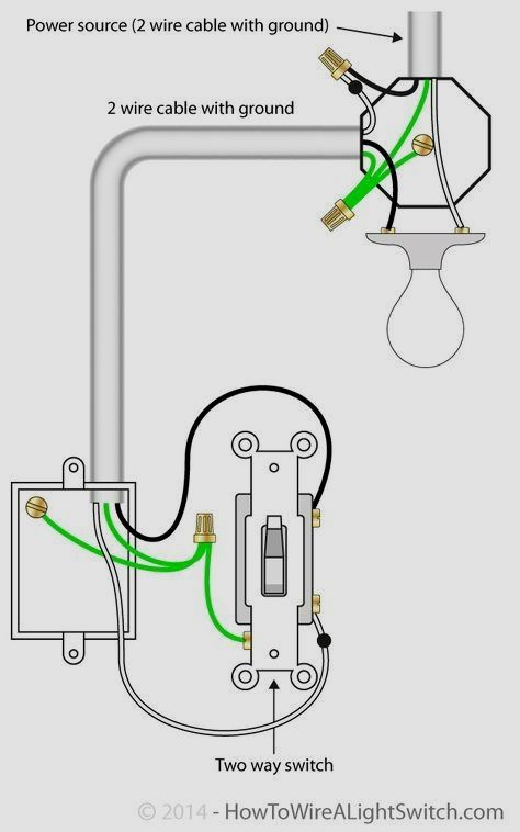 2 way switch with power source via light fixture how to wire a Lighting Control Wiring Diagram 2 way switch with power source via light fixture how to wire a light switch