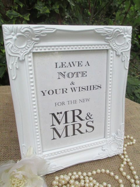 Wedding Wish Tree Sign Mr & Mrs Wooden Shabby Chic Vintage Frame