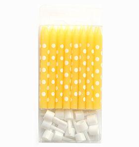 Fridas kalas - cake canles yellow polakdot