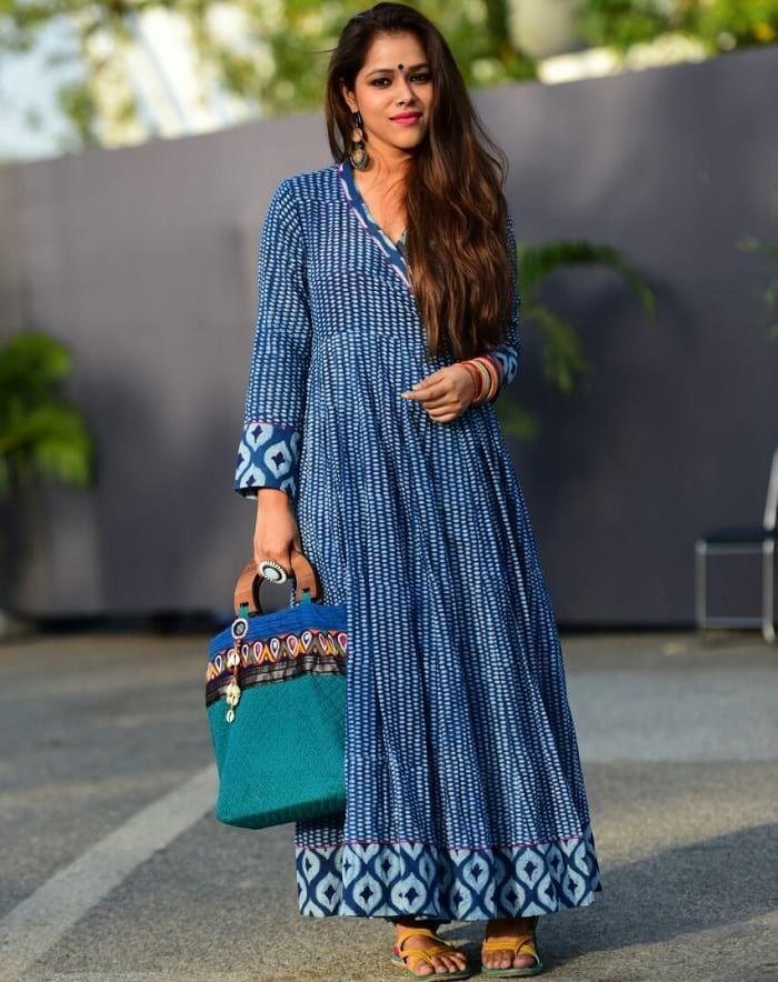 Indigo Printed Angrakha Style Long Kurti