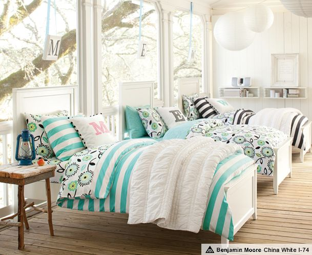 Hampton Cottage Stripe Bedroom - perfect for summer slumber parties!