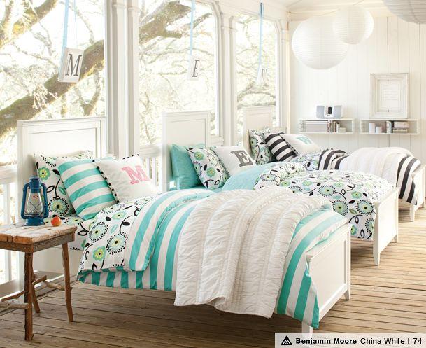 Hampton Cottage Stripe Bedroom - perfect for summer slumber parties!