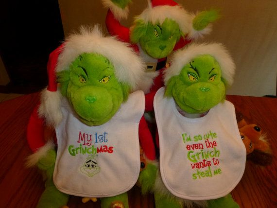 Hey, I found this really awesome Etsy listing at https://www.etsy.com/listing/209016316/grinch-baby-bibs-embroidered-boutique