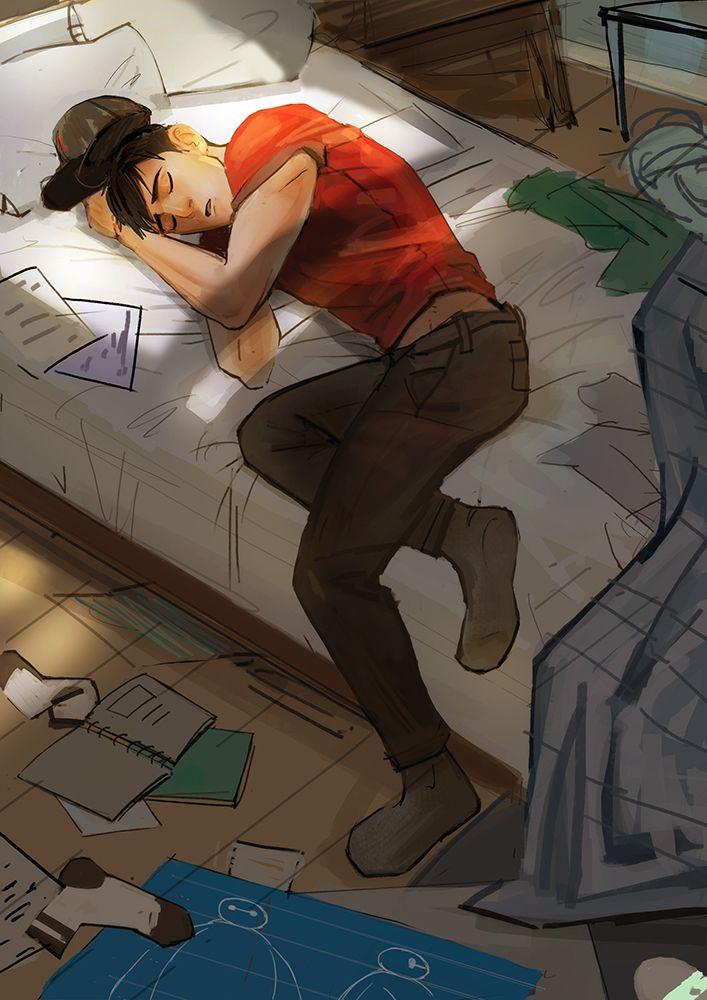 """Shhh... He's sleeping Baymax."" - Hiro  ""Hello, Tadashi."" -Baymax  ""SHHHH!!!!!!!"" - Hiro"