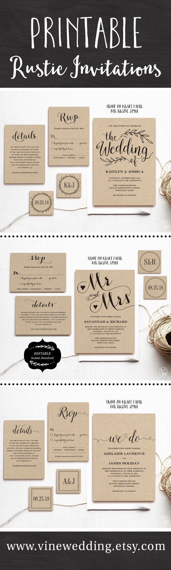 Beautiful rustic wedding invitations. Editable instant download templates you can print as many as you need. #wedding #invitations #vinewedding