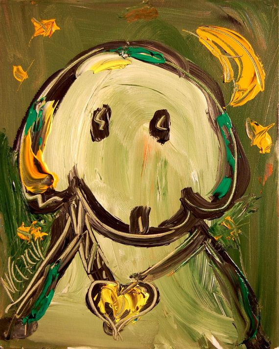 GREEN DOG Painting Abstract Wall Art Texture Colorful by kazavart