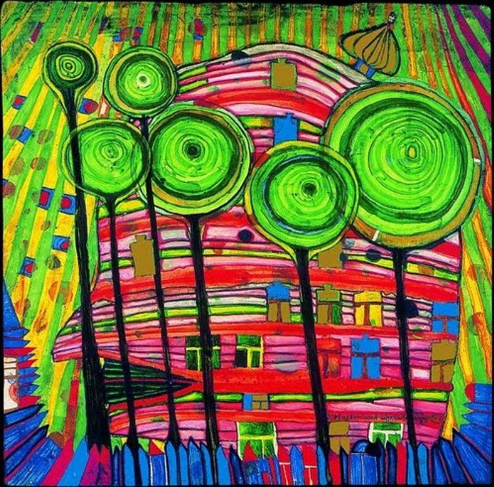 """Hundertwasser- Blobs grow in beloved gardens. hundertwasser-kalender.de """"We are in need of magic I fill a picture until it is full with magic, as one fills up a glass with water."""""""