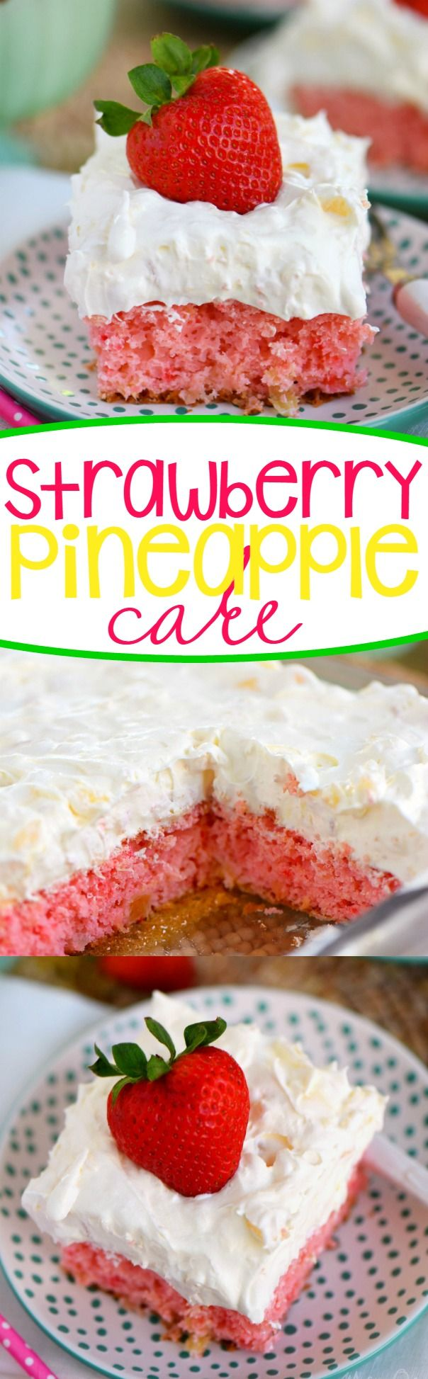 This Easy Strawberry Pineapple Cake recipe is ideal for all Spring and Summer festivities! Delightfully easy to make and topped with the creamiest pineapple fluff frosting, this cake will quickly become your go-to dessert recipe!: