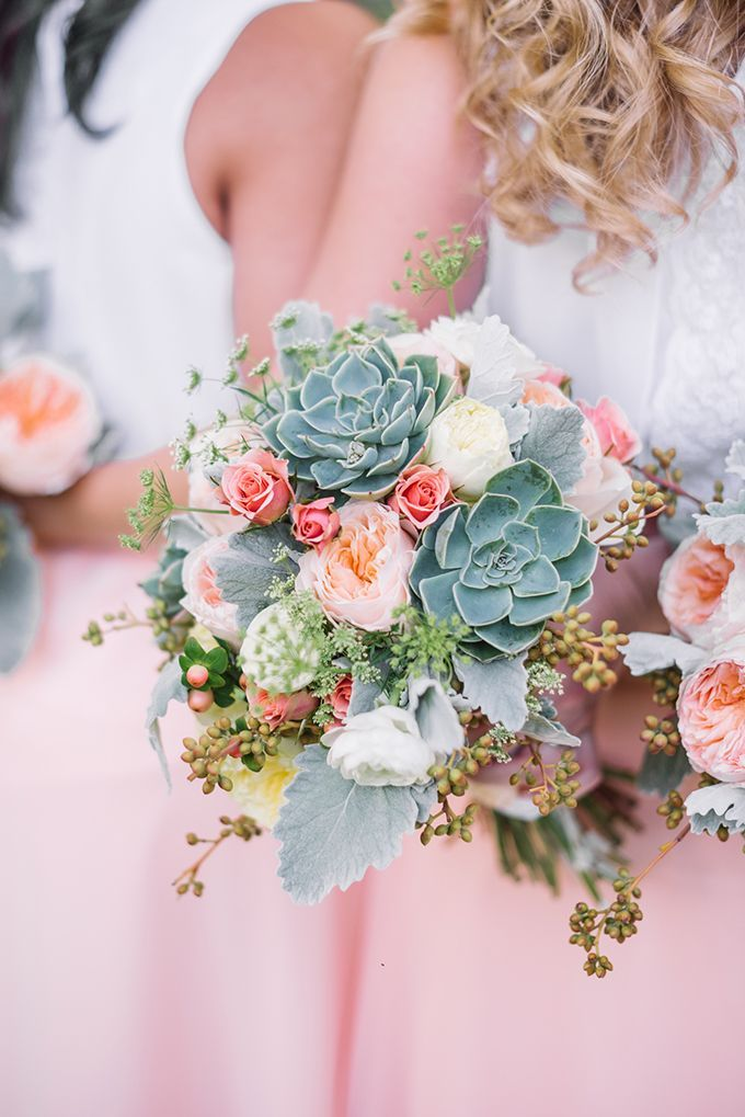peach succulent bouquet | Karyn Johnson Photography | Glamour & Grace