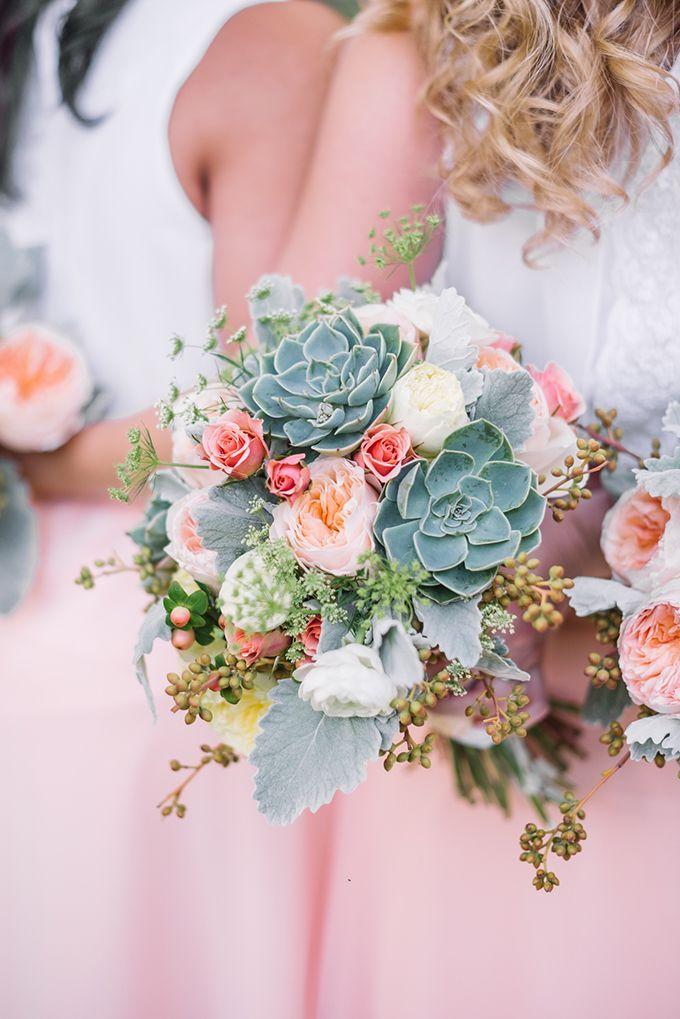 peach succulent bouquet | Karyn Johnson Photography | Glamour & Grace