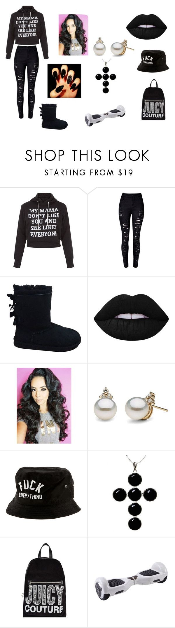 """""""yaya flee asl"""" by really-rayy ❤ liked on Polyvore featuring New Look, WithChic, UGG Australia, Lime Crime, Kill Brand, Kiki Minchin and Juicy Couture"""
