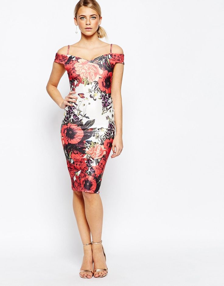 Image 4 of Hope and Ivy Bardot Pencil Dress with Floral Placement Print