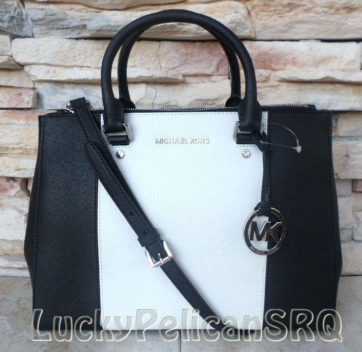 366556891586 ... Michael Kors Jet Set Dressy Sutton Black Center Stripe Saffiano Satchel  Bag NWT MichaelKors ...