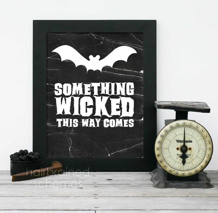 Halloween Modern Art Print -Something Wicked This Way Comes - Black Bat Modern Halloween Decor. $15.00, via Etsy.