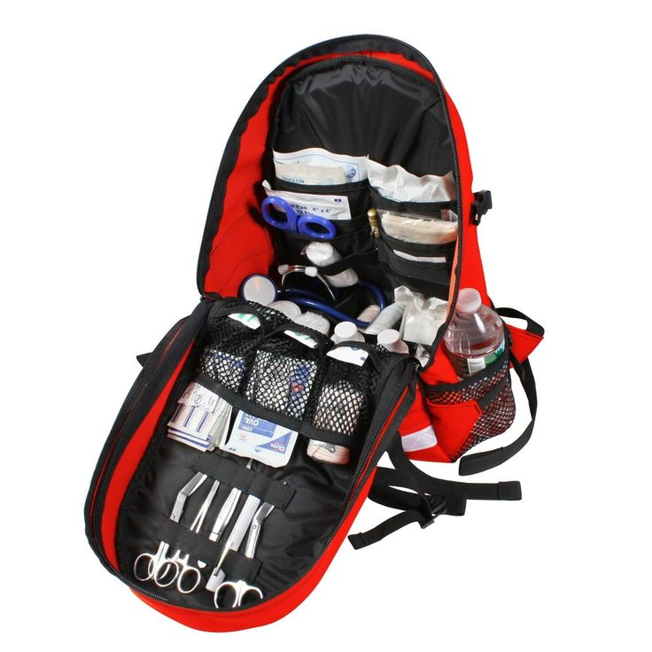 EMS Medic Trauma Backpack Gear Bag - Red First Aid Ambulance Emergency Back Pack