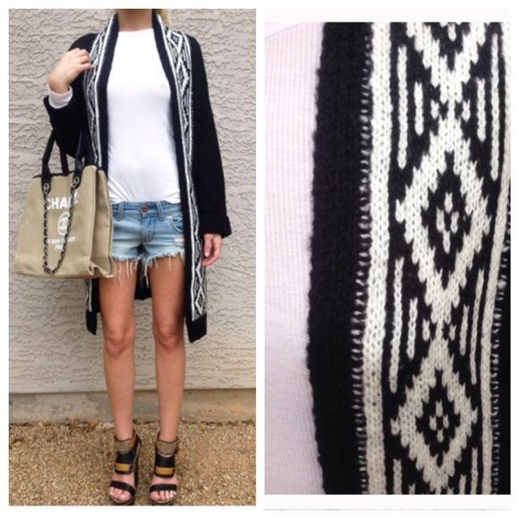 •Long Black Open Aztec Sweater• •Total bohemian style Open knit black sweater with black & white aztec detailing along entire front of the piece• Can fit S-M Romeo & Juliet Couture Sweaters Cardigans