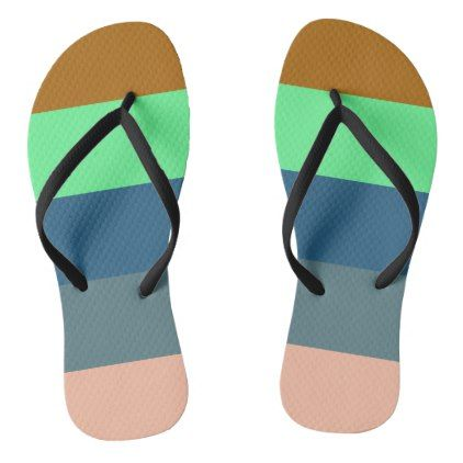 #brown light malachite green blue stripes flip flops - #womens #shoes #womensshoes #custom #cool