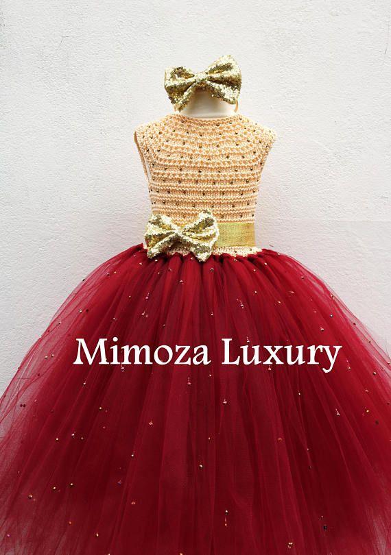 VENTA Borgoña y oro flor chica vestido vestido de Navidad