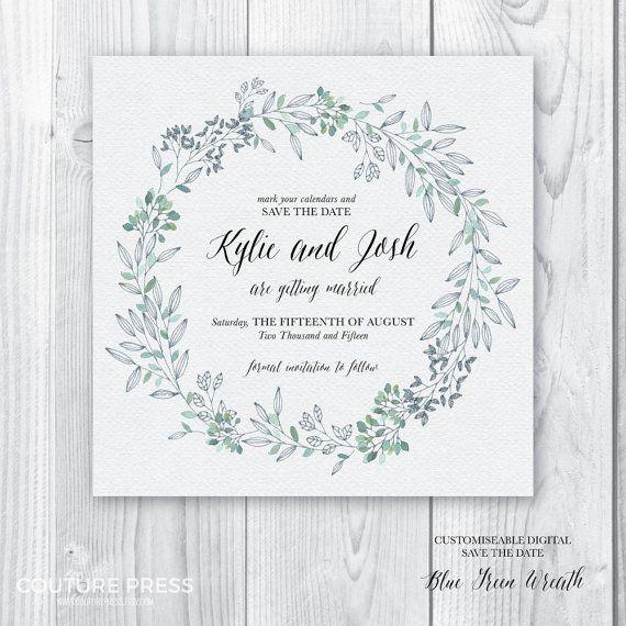 Printable Save the Date Invitation, DIY Printable, Watercolour Blue Green Wreath