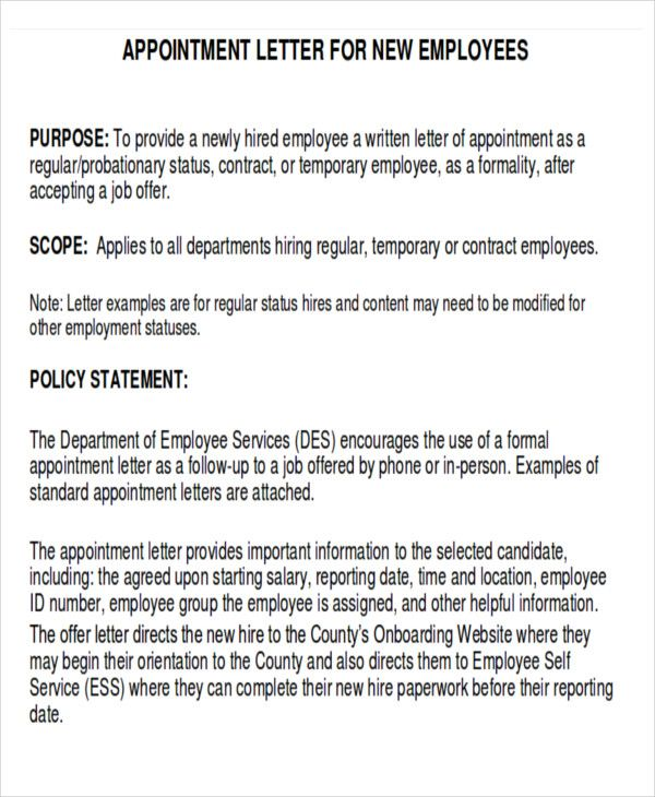sample business appointment letter examples pdf word professor - job offer letter content