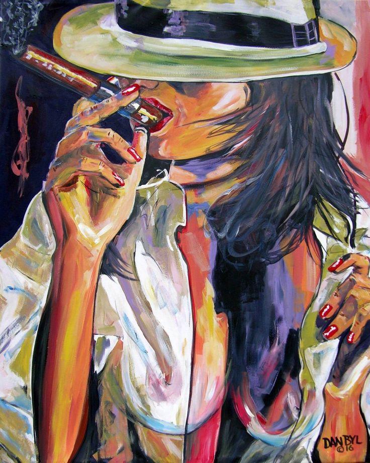 Cohiba Cigar Lady Huge Contemporary Modern Original Fun Art Painting DAN BYL by danbyl on Etsy https://www.etsy.com/listing/462961608/cohiba-cigar-lady-huge-contemporary