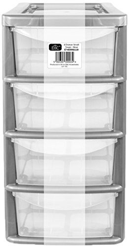 From 9.59:Ehc Small 4-drawer Tower Plastic Storage Unit Silver