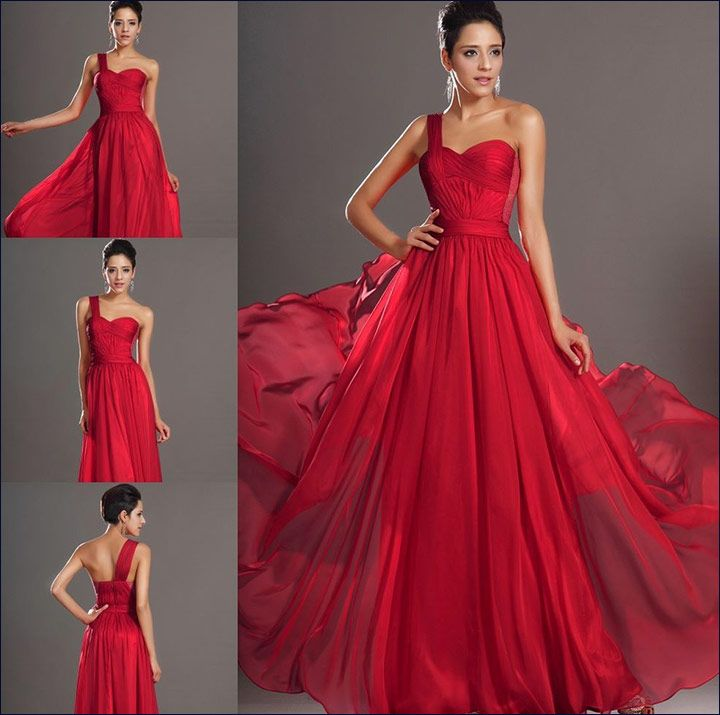 Red Gowns For Wedding - A Classic Flowing Gown With A Side Strap
