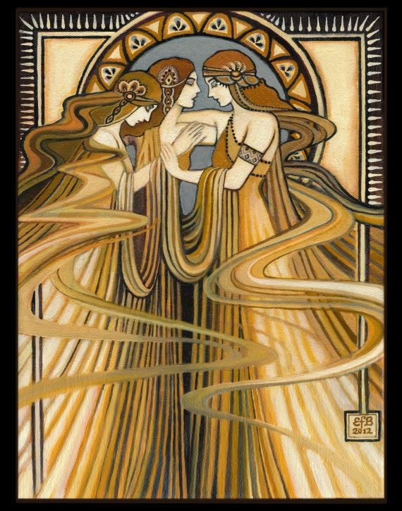 """""""The Three Graces"""" ~ The Greek Goddesses of charm, beauty, nature, human creativity and fertility. - Painting by Emily Balivet"""