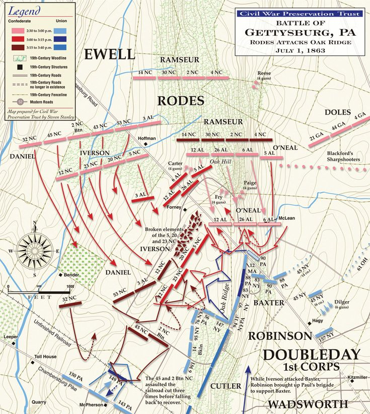 150 years ago today in Gettysburg, PA - Rodes Attacks Oak Ridge, July 1, 1863
