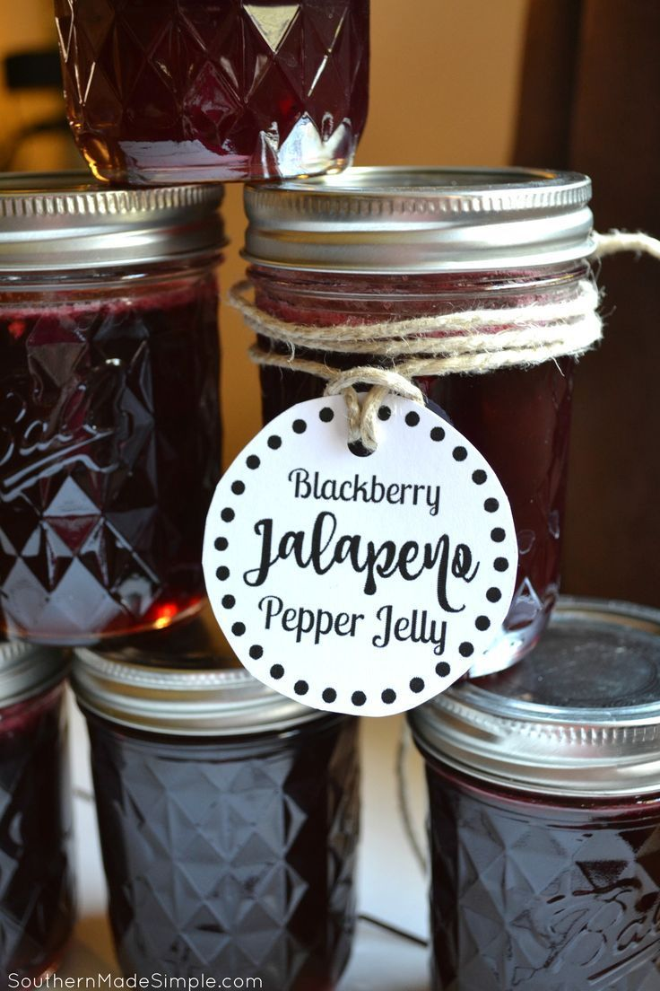Blackberry Jalapeno Pepper Jelly Recipe - a really simple recipe to make the sweetest jelly around - with a hint of heat! + Free Printable