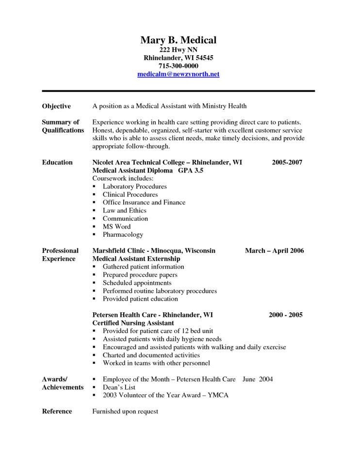 medical assistant cna resume