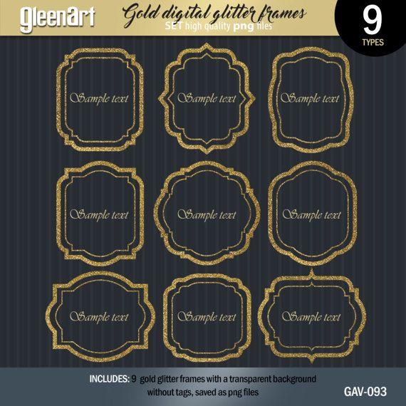50% Off Sale Gold glitter label frames Silver glitter by GleenArt
