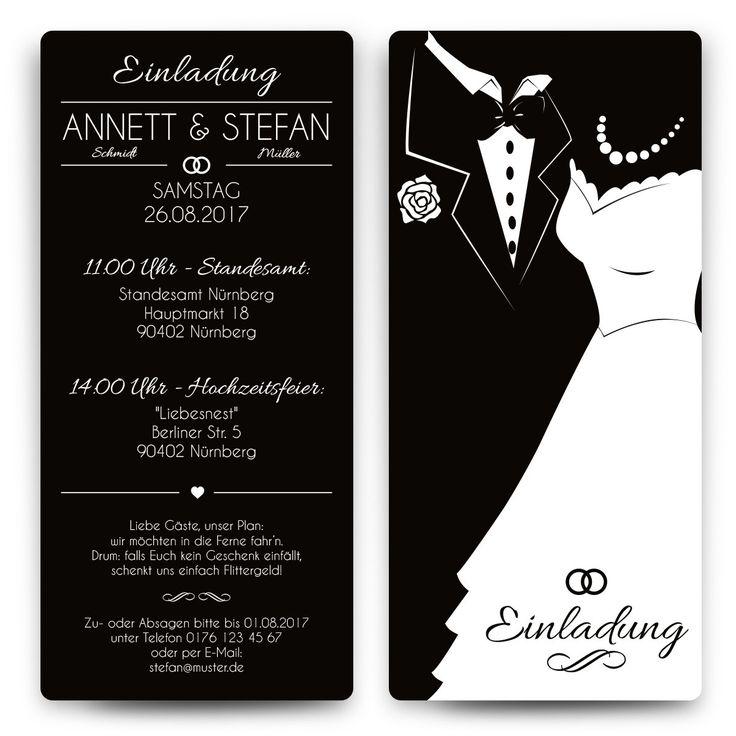 Hochzeitseinladungen   Black And White Brautpaar   Schwarz #hochzeit # Einladung #hochzeitseinladung #invitation