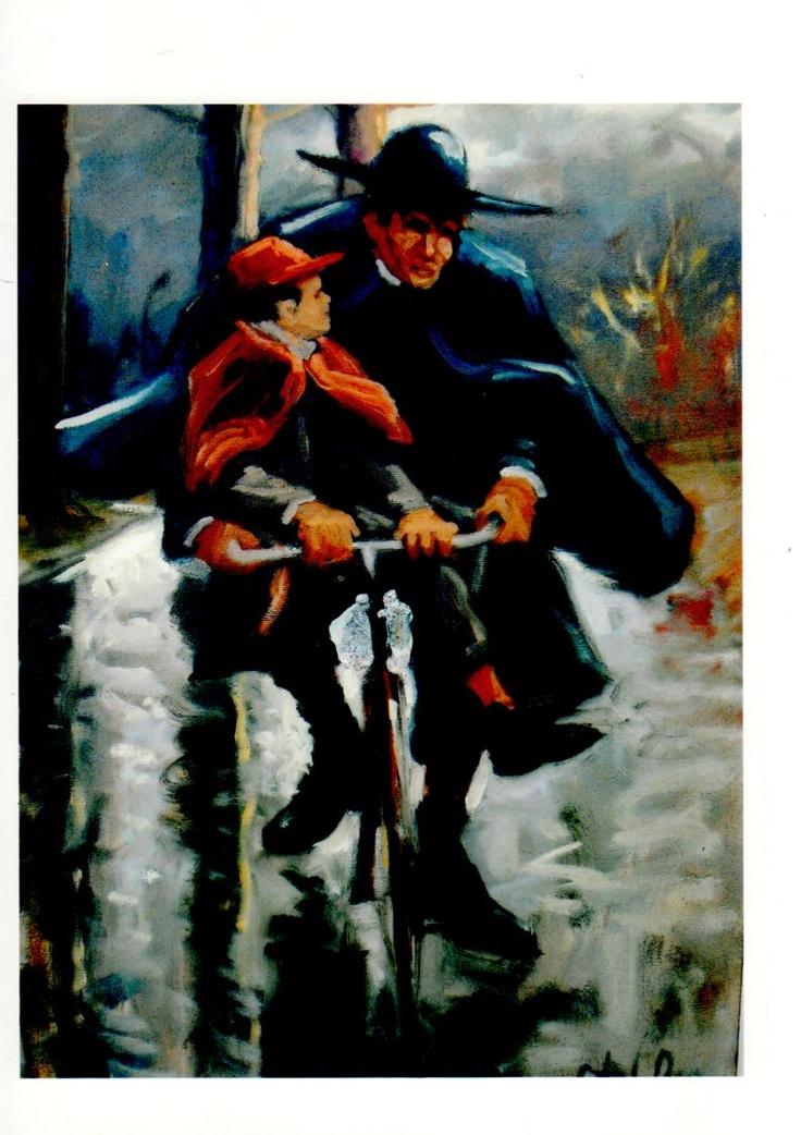 """""""Don Camillo con il figlio di Peppone"""", 50x70, Olio su tela"""