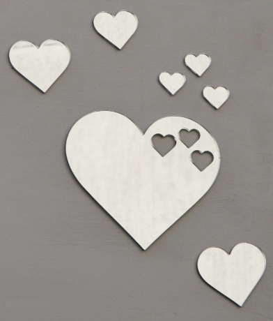 Heart Heart Heart set, Large heart 13.5 by 12cm small hearts 2.5 - 6cm. Available from our online store for $16.95 + postage. 3mm acrylic mirror - Can be hung with Blu-tack.