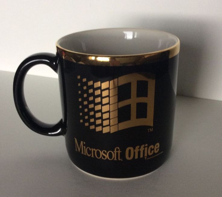 office coffee mugs. Collectible MICROSOFT OFFICE Black And Gold Coffee Mug Office Mugs -
